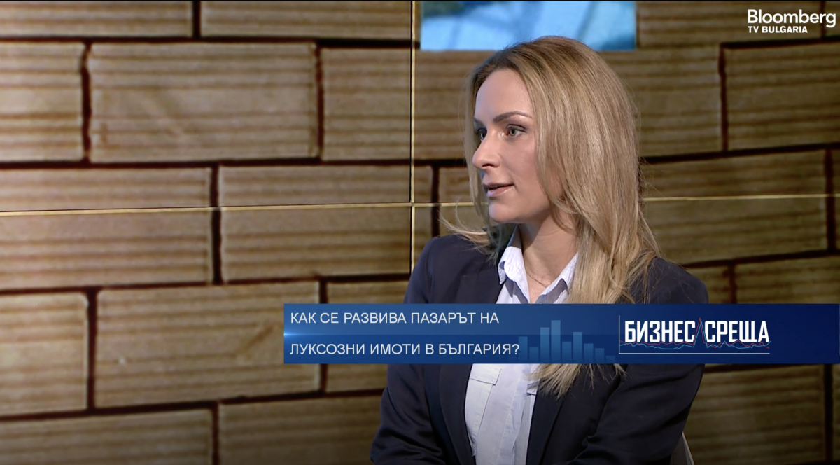 Vesela Ilieva in front of Bloomberg TV for the challenge to sell luxury properties