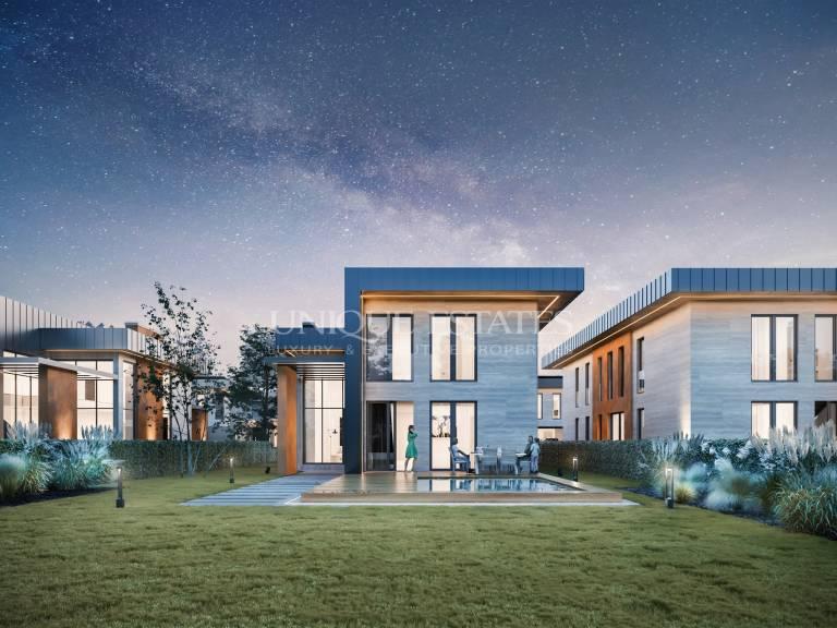 Нова луксозна къща с басейн в близост до природата